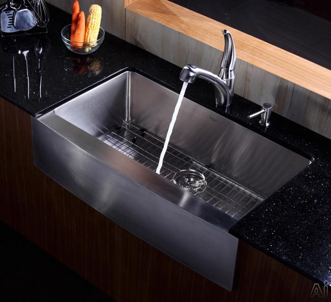 """36 Kitchen Sink: Kraus KHF20036 36"""" Farmhouse Apron Single Bowl Kitchen"""