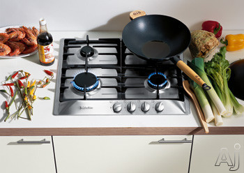 "Miele KM360GSS 24"" Sealed Burner Gas Cooktop with 4 Burners, Cast Iron Grates and Stainless Steel, U.S. & Canada KM360GSS"
