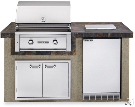 """Lynx Sedona Series L1500GLP 30"""" Sedona Island Package with 30"""" Grill with ProSear, 4.1 cu. ft. Refrigerator, Single Side Burner and 30"""" Double Door Storage Access: Falcon Gray"""