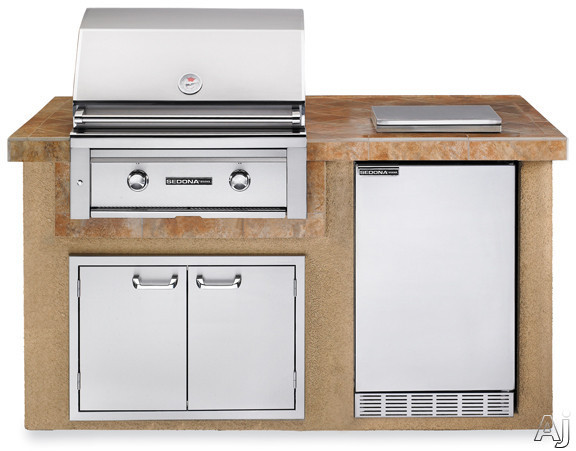 "Lynx Sedona Series L1500SLP 30"" Sedona Island Package with 30"" Grill with ProSear, 4.1 cu. ft. Refrigerator, Single Side Burner and 30"" Double Door Storage Access: Sandalwood"