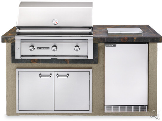 "Lynx Sedona Series L1600GLP 36"" Sedona Island Package with 36"" Grill with ProSear, 4.1 cu. ft. Refrigerator, Single Side Burner and 36"" Double Door Storage Access: Falcon Gray"