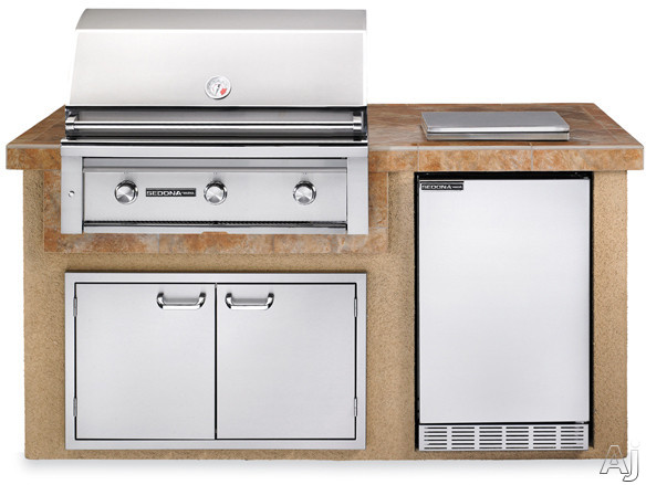 "Lynx Sedona Series L1600SNG 36"" Sedona Island Package with 36"" Grill with ProSear, 4.1 cu. ft. Refrigerator, Single Side Burner and 36"" Double Door Storage Access: Sandalwood, Natural Gas"