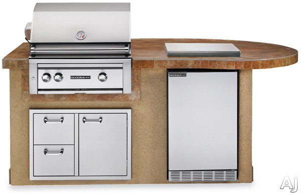 Lynx Sedona Series L2500SNG 30 Inch Delux Sedona Island Package with 30 Inch Grill with ProSear and Rotisserie, 4.1 cu. ft. Refrigerator, Single Side Burner and 30 Inch Double Drawer/ Access Door Combo: Sandalwood, Natural Gas