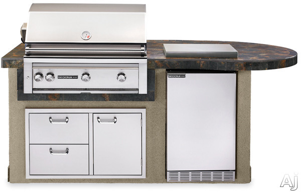 "Lynx Sedona Series L2600GNG 36"" Delux Sedona Island Package with 36"" Grill with ProSear and Rotisserie, 4.1 cu. ft. Refrigerator, Single Side Burner and 36"" Double Drawer/ Access Door Combo: Falcon Gray, Natural Gas"