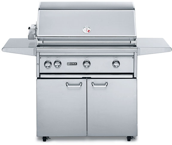 Lynx Professional Grill Series L36PSFR2NG 62 Inch Freestanding Gas Grill with 935 sq. in. Cooking Surface, 2 Red Brass Burners, ProSear2 Burner, 3-Speed Rotisserie, Hot Surface Ignition and Halogen Surface Light: Natural Gas