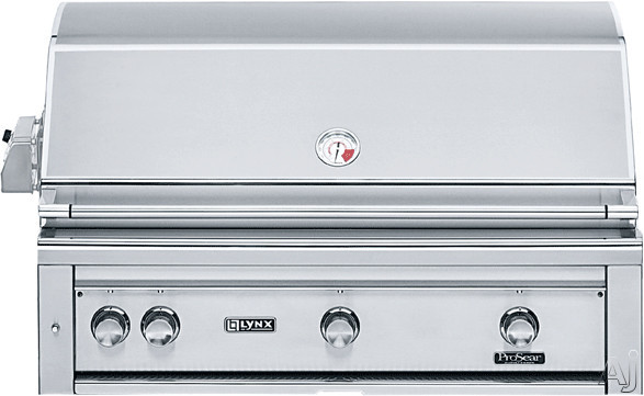Lynx Professional Grill Series L42R1 42 Inch Built-in Gas Grill with 1,200 sq. in. Cooking Surface, Three 25,000 BTU Red Brass Burners, Hot Surface Ignition System, Blue LED Control Illumination, Hood Assist Kit and Dual-Position Internal Rotisserie L42R