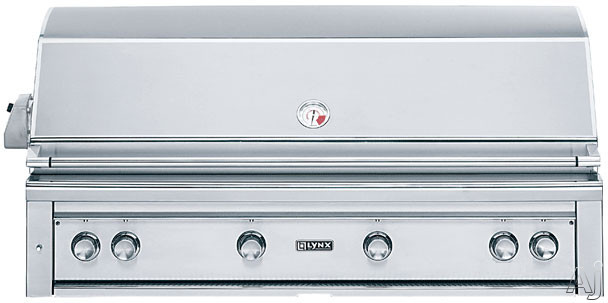 """Lynx Professional Grill Series L54PSR2 54"""" Built-in Gas Grill with 1,555 sq. in. Cooking Surface, 3 Red Brass Burners, ProSear2 Burner, 3-Speed Rotisserie, Hot Surface Ignition and Halogen Lighting"""