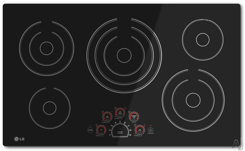 "LG LCE3610SB 36"" Smoothtop Electric Cooktop with 5 Steady Heat Radiant Elements Including Triple 12""/9""/6"" Element, Warm Function, SmoothTouch Controls, Hot Surface Indicator Lights and Child Lock"