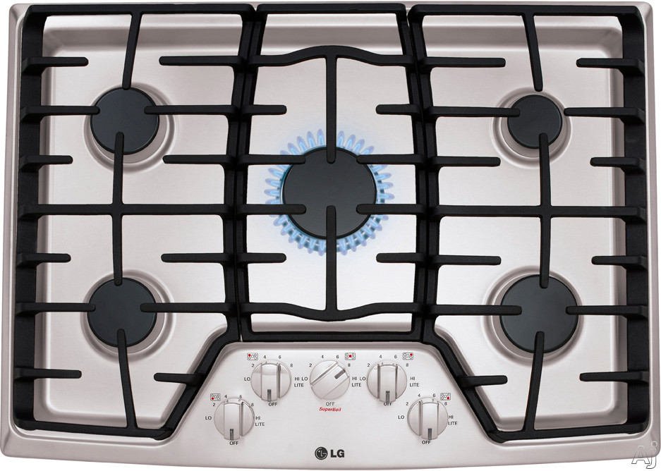 """LG LCG3011ST 30"""" Gas Cooktop with 5 Sealed Burners, 17,000 BTU SuperBoil, Heavy Duty Cast Iron Grates and Front Center Knob Controls"""