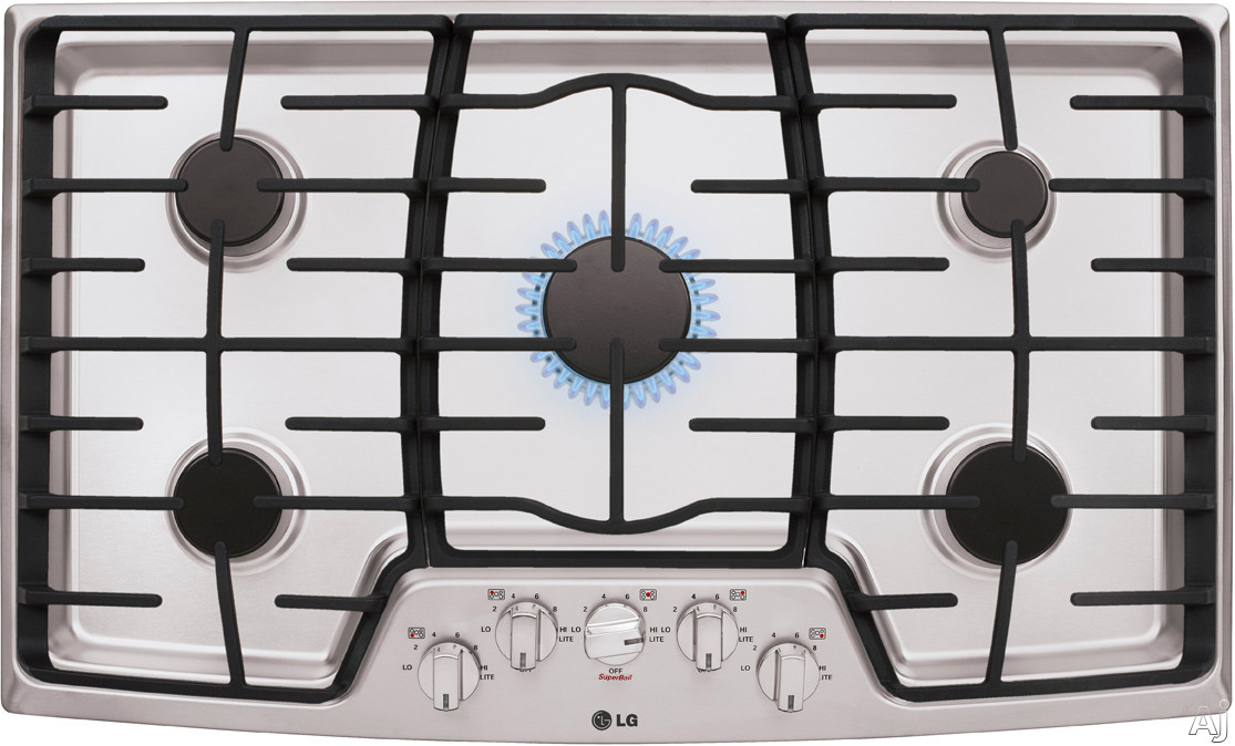 "LG LCG3611ST 36"" Gas Cooktop with 5 Sealed Burners, 17,000 BTU SuperBoil, Heavy Duty Cast Iron Grates and Front Center Knob Controls"