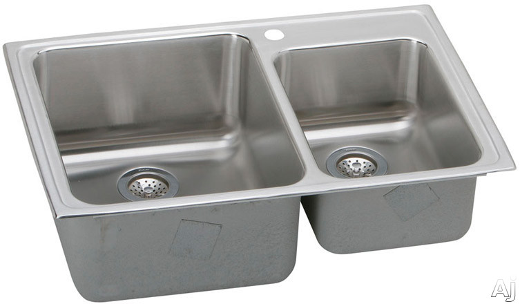 Elkay Gourmet Collection LFGR33220 33 Inch Top Mount Double Bowl Stainless Steel Sink with 18-Gauge, 10 Inch Large Bowl Depth, Coved Corners and Self-Rim: No Holes