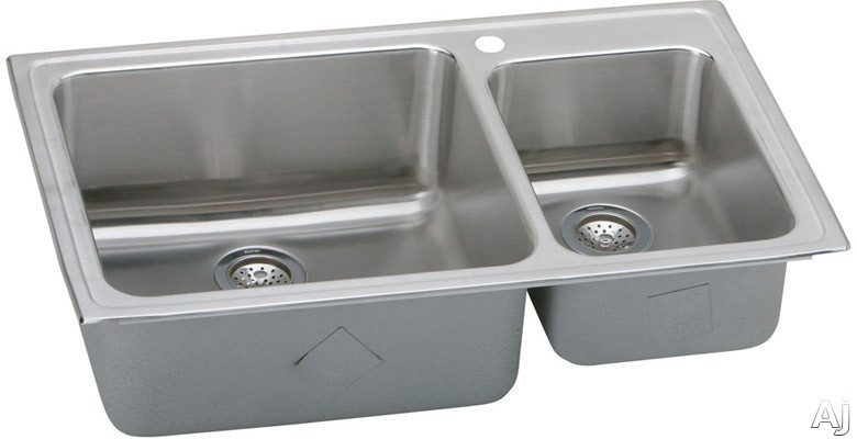 Elkay Gourmet Collection LFGR37223 37 Inch Top Mount Double Bowl Stainless Steel Sink with 18-Gauge, 10 Inch Large Bowl Depth, Coved Corners and Self-Rim: 3 Holes