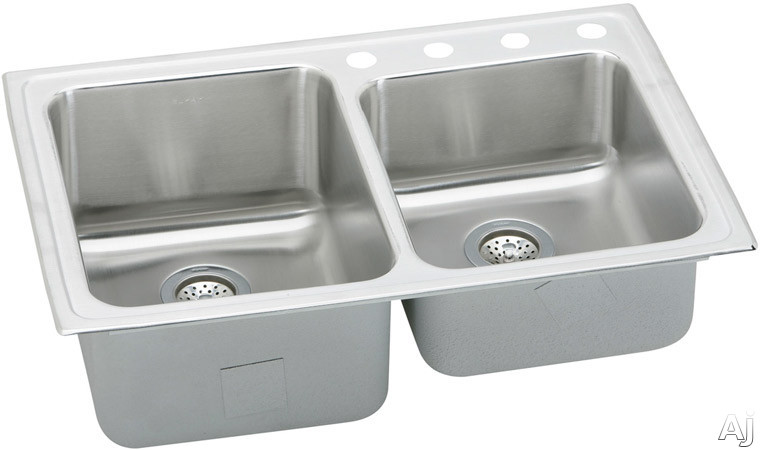 Elkay Gourmet Collection LGR33220 33 Inch Top Mount Double Bowl Stainless Steel Sink with 18-Gauge, 10 Inch Large Bowl Depth, Sound Guard Undercoating and Self-Rim: No Holes