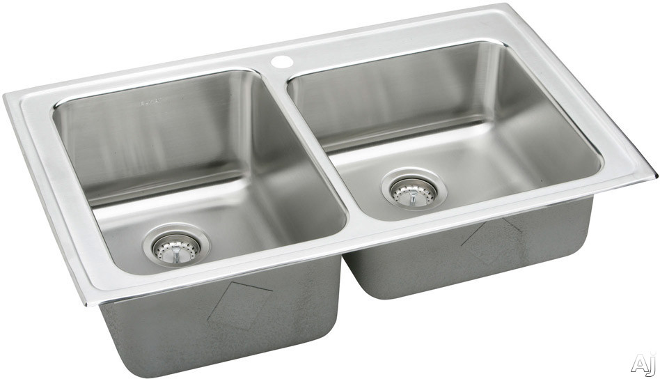 Elkay Gourmet Collection LGR37223 37 Inch Top Mount Double Bowl Stainless Steel Sink with 18-Gauge, 10 Inch Large Bowl Depth, Sound Guard Undercoating and Self-Rim: 3 Holes