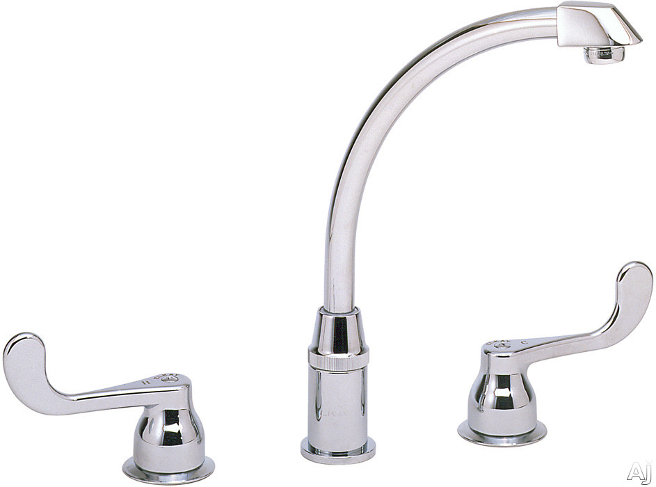 Elkay Lklfd2439 Double Lever Cast Spout Kitchen Faucet With 8 Reach 45 Swing Spout And Ada