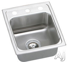Elkay Lustertone Collection LR13160 13 Inch Top Mount Single Bowl Stainless Steel Sink with 18-Gauge, 7-5/8 Inch Bowl Depth, Self-Rim and U-Channel Type Mounting System: No Holes