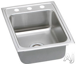 "Elkay Lustertone Collection LR17222 17"" Top Mount Single Bowl Stainless Steel Sink with 18-Gauge, U.S. & Canada LR17222"