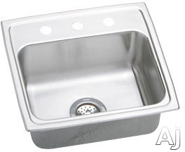 "Elkay Lustertone Collection LR1919MR2 20"" Top Mount Single Bowl Stainless Steel Sink with 18-Gauge, U.S. & Canada LR1919MR2"
