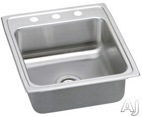 Picture of Elkay Lustertone Collection LR2022 20 Inch Top Mount Single Bowl Stainless Steel Sink with 18-Gauge 7-58 Inch Bowl Deph 22 Inch Length Self-Rim and U-Channel Type Mounting System