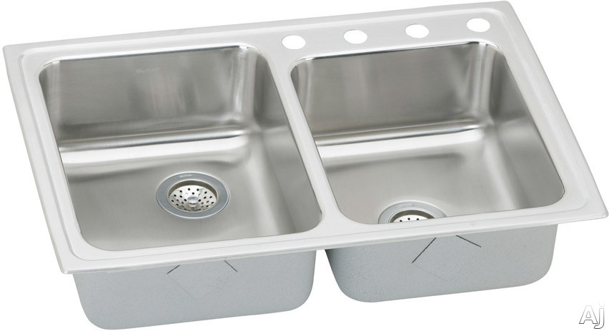 "Elkay Lustertone Collection LR2502 33"" Top Mount Double Bowl Stainless Steel Sink with 18-Gauge, 7-7, U.S. & Canada LR2502"