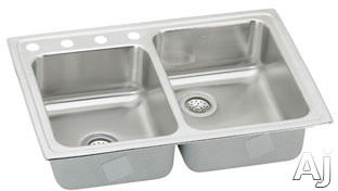 Elkay Lustertone Collection LR250L4 33 Inch Top Mount Double Bowl Stainless Steel Sink with 18-Gauge, 7-7/8 Inch Bowl Depth, Small Bowl On Left and U-Channel Type Mounting System: 4 Holes