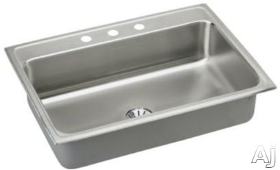 Elkay Gourmet Perfect Drain Collection Lustertone Collection LR3122PD2 31 Inch Drop-In Stainless Steel Kitchen Sink with 7 5/8 Inch Bowl Depth, 18-Gauge, Sound Dampening, Lustrous Highlighted Satin Finish and Perfect Drain: 2 Faucet Holes