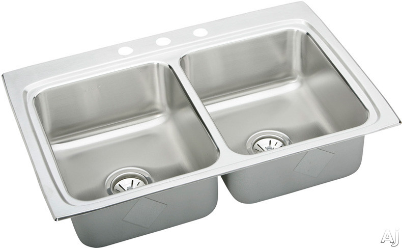 "Elkay Lustertone Collection LR33224 33"" Top Mount Double Bowl Stainless Steel Sink with 18-Gauge, U.S. & Canada LR33224"
