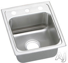 Elkay Lustertone Collection LRAD1316600 13 Inch Top Mount Single Bowl Stainless Steel Sink with 18-Gauge, 6 Inch Bowl Depth, Self-Rim, ADA Compliant and U-Channel Type Mounting System: No Holes