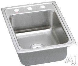 "Elkay Lustertone Collection LRAD172255OS4 17"" Top Mount Single Bowl Stainless Steel Sink with, U.S. & Canada LRAD172255OS4"