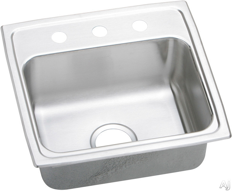 Elkay Lustertone Collection LRAD191840MR2 19 Inch Top Mount Single Bowl Stainless Steel Sink with 18-Gauge, 4 Inch Bowl Depth, Self-Rim, ADA Compliant, Off-Centered Rear Drain and U-Channel Type Mount