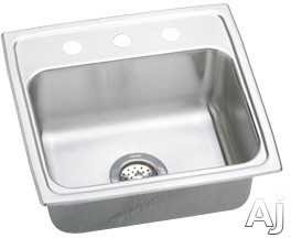 Image of Elkay Lustertone Collection LRAD1919600 20 Inch Top Mount Single Bowl Stainless Steel Sink with 18-Gauge, 6 Inch Bowl Depth, 19 Inch Length, Self-Rim, ADA Compliant and U-Channel Type Mounting System: No Holes
