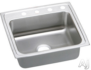 Elkay Lustertone Collection LRAD2219553 22″ Top Mount Single Bowl Stainless Steel Sink with 18-Gauge, 5-1/2″ Bowl Depth, 19-1/2″ Length, ADA Compliant, Off-Centered Rear Drain and U-Channel Type Mounting System: 3 Holes