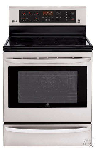 """click for Full Info on this LG LRE3085ST 30"""" Freestanding Electric Range with with 5 Radiant Elements  6.3 cu ft Convection Oven  Infrared Grill  IntuiTouch Controls  EasyClean Technology and Warming Drawer"""