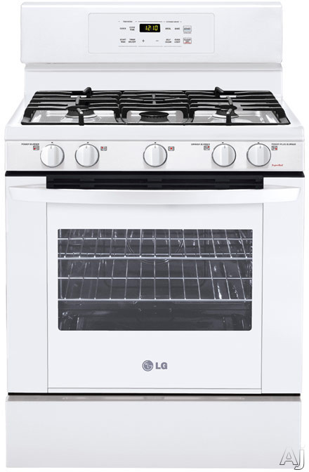 "LG LRG3091SW 30"" Freestanding Gas Range with 5 Sealed Burners, 17,000 BTU SuperBoil Burner, Continuous Grates, 5.4 cu. ft. Self-Clean Oven, PreciseTemp Bake System and Storage Drawer: Smooth White"