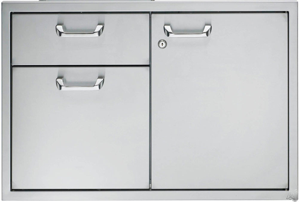 Lynx LSA30 30 Inch Double Drawer and Access Door Storage System with LED Interior Lighting (Lock and Key Included)