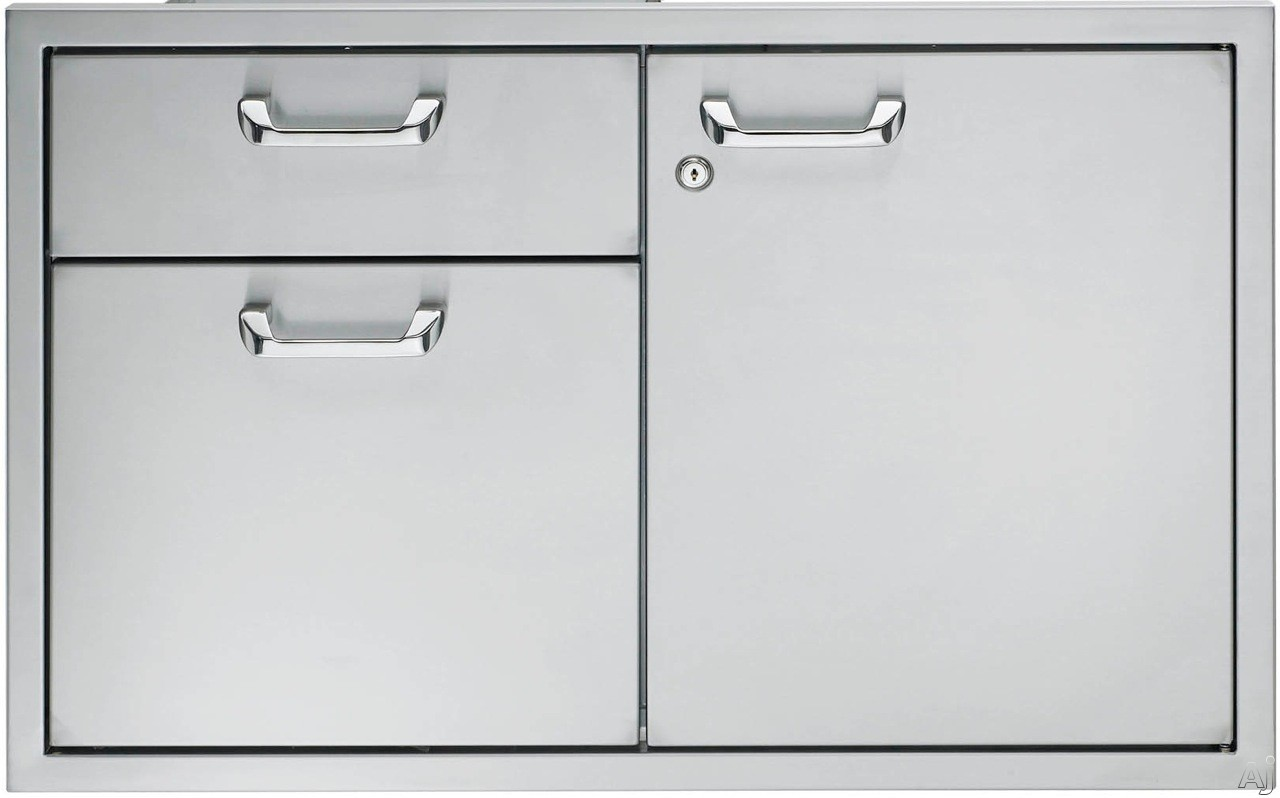 Lynx LSA36 36 Inch Double Drawer and Access Door Storage System with LED Interior Lighting (Lock and Key Included)