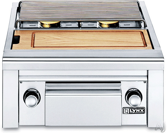 Lynx Professional Grill Series LSB2PC1L Built-in Double Side Burner with Two 15,000 BTU Burners, Bamboo Cutting Board and Storage Drawer: Liquid Propane