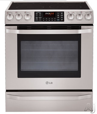 "LG Studio Series LSES302ST 30"" Slide-in Electric Range with 5 Radiant Elements, Warming Zone, 5.4 cu. ft. Dual True Convection Oven, Baking Drawer and 2 Year Warranty"