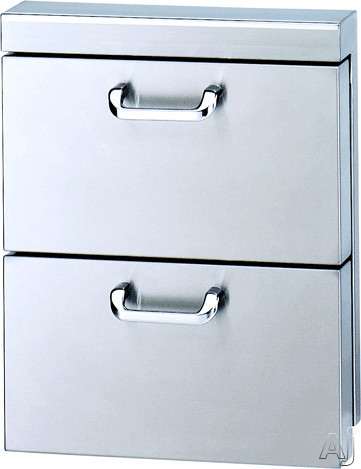 Lynx LUDXL1 18 Inch Double Utility Drawers with Fully Extendable Drawers, Stainless Steel Rollers and 5 Inch Offset Handles LUDXL1