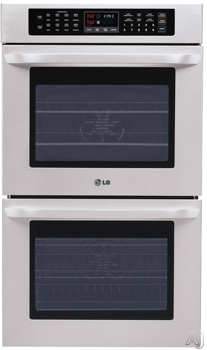 "LG LWD3010ST 30"" Double Electric Wall Oven with 4.7 cu. ft. Upper/Lower Oven Capacity, Convection Bake/Broil, Self-Cleaning, Crisp Convection, SmoothTouch Controls, 3D Lighting and 5 Heavy Duty Racks"