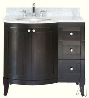 "click for Full Info on this Empire Industries Malibu 100 Collection M10036LD 36"" Contemporary Vanity with Cabinet Doors  Drawers and Optional Countertops: Dark Mahogany"