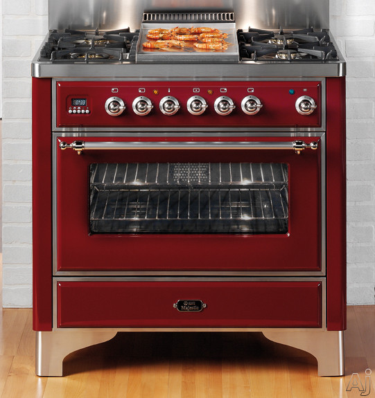 """Ilve Majestic Collection UM90FMPVS 36"""" Traditional-Style Dual Fuel Range with 4 Sealed Burners, U.S. & Canada UM90FMPVS"""