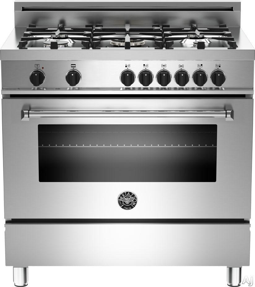"Bertazzoni Master Series MAS365DFMXEX 36"" Pro-Style Dual Fuel Range with 5 Sealed Aluminum Burners, U.S. & Canada MAS365DFMXEX"
