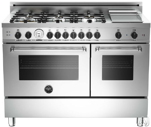 Bertazzoni Master Series MAS486GGASXTX 48 Inch Pro-Style Gas Range with 6 Sealed Brass Burners, 3.6 cu. ft. Main Convection Oven, Manual Clean, Griddle, Storage Drawer and Telescopic Glide Shelf