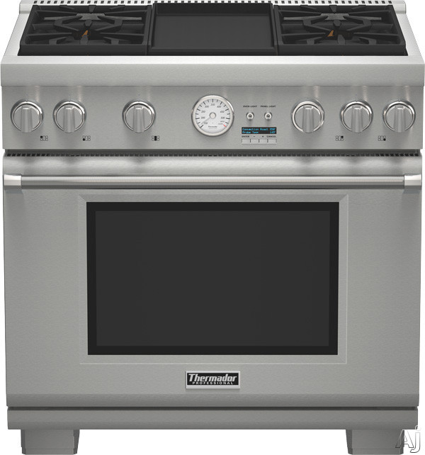 Thermador Pro Grand Professional Series PRL364JDG 36 Inch Pro-Style Gas Range with 4 Sealed Star Burners, 5.7 cu. ft. Convection Oven, 22,000 BTU Power Burner, ExtraLow Simmer Burners, Electric Griddle, Telescopic Racks, Self-Cleaning Mode and Star-K Cer
