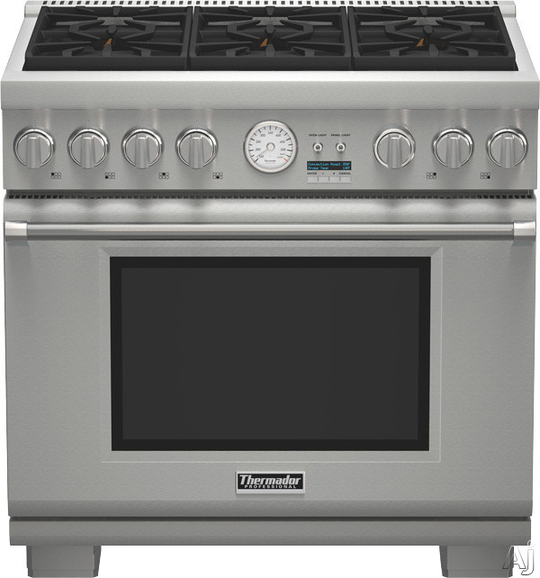 Thermador Pro Grand Professional Series PRL366JG 36 Inch Pro-Style Gas Range with 6 Sealed Burners, 5.5 cu. ft. Convection Oven, 22,000 BTU Power Burner, ExtraLow Simmer Burners, Telescopic Racks, Self-Cleaning Mode and Star-K Certified: Liquid Propane