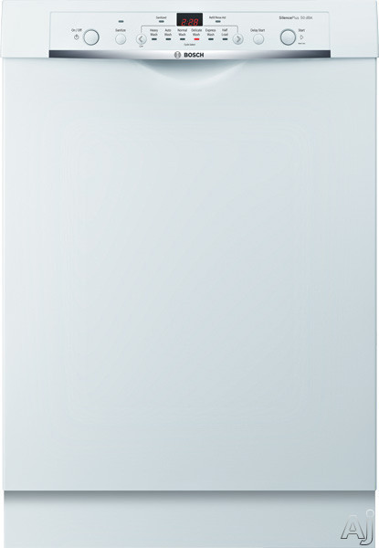 Bosch Ascenta Series SHE3AR72UC 24 Inch Full Console Dishwasher with 24/7 Overflow Protection System ®, EcoSenseâ ¢, Sanitize, Delicates, 6 Wash Cycles, 14-Place Settings, Delay Start, Adjustable Upper Rack, Long Silverware Basket, 50 dBA Silenc