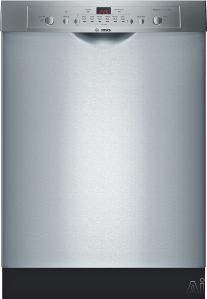 Bosch Ascenta Series SHE3AR75UC 24 Inch Full Console Dishwasher with 24/7 Overflow Protection System ®, EcoSenseâ ¢, Sanitize, Delicates, 6 Wash Cycles, 14-Place Settings, Delay Start, Adjustable Upper Rack, Long Silverware Basket, 50 dBA Silenc