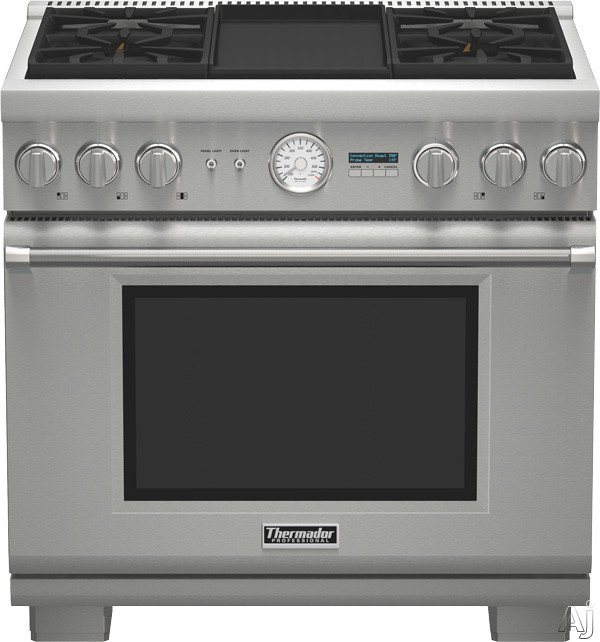 Thermador Pro Grand Professional Series PRD364JDGU 36 Inch Pro-Style Dual-Fuel Range with 4 Sealed Star Burners, 5.7 cu. ft. True Convection Oven, Electric Griddle, 22,000 BTU Power Burner, ExtraLow Simmer Burners, Telescopic Racks, Self-Cleaning Mode an
