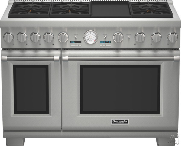 Thermador Pro Grand Professional Series PRD486JDGU 48 Inch Pro-Style Dual-Fuel Range with 6 Sealed Star Burners, 8.2 Total cu. ft. Convection Ovens, 22,000 BTU Power Burner, ExtraLow Simmer Burners, E